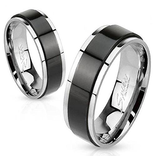 anillos antiestres negro y plata