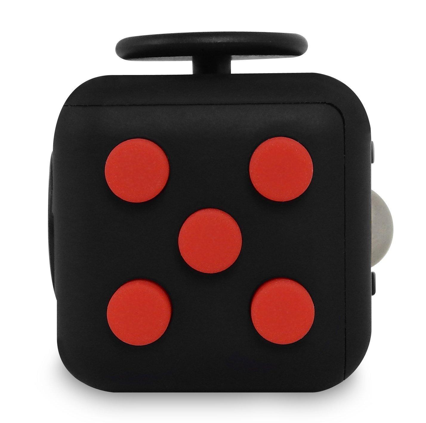fidget cube de 6 caras negro-rojo