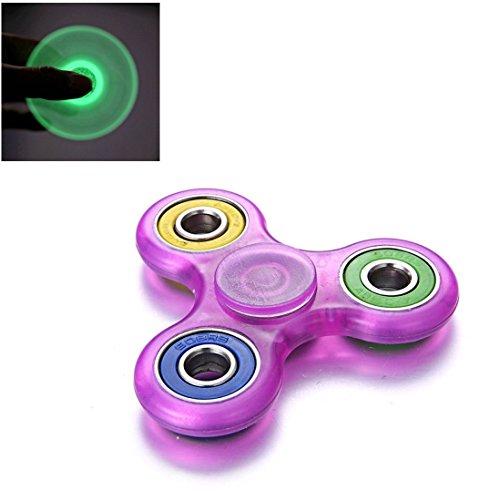 Fidget Spinner Switchali LED Brillante Hand Spinner Fidget Juguete Anti Ansiedad para Niños y Jóvenes Adultos Juguete Educación Juguetes de Aprendizaje - Juego Sensorial Hand Spinner en Oferta (Púrpura)