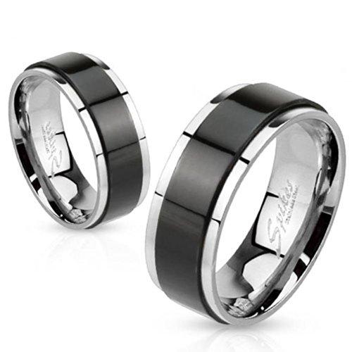 Paula & Fritz® Anillo de acero inoxidable acero quirúrgico 316L 6o 8mm de ancho Spinner con banda negra disponibles Ring tamaños 47(15)–72(23) R de h1658