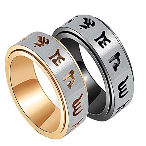 anillos antiestrés grabado tibetano