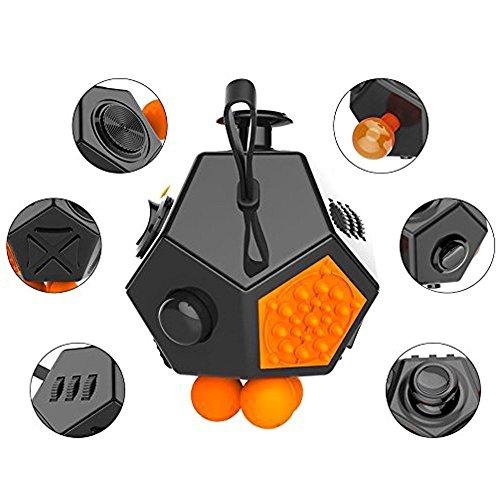 Actualización 12lados Fidget cubo Anti-Anxiety y depresión, intranquilos dados juguete estrés reductor, apto para ADHD, EDC y autismo adultos niños dedo juguete, hombre Infantil mujer, Fidget Dice Toy, Black + Orange, large-L