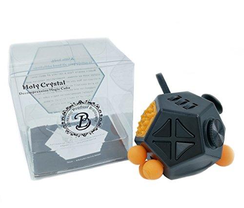 Broloyalty-Fidget Dice II 12 lados Cubo en forma de diamante Alivia el estrés y la ansiedad para niños y adultos (Negro)