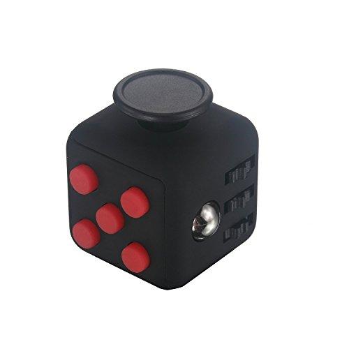 Cubo antiestrés con 6 funciones distintas (Fidget Cube) Rojo / Negro