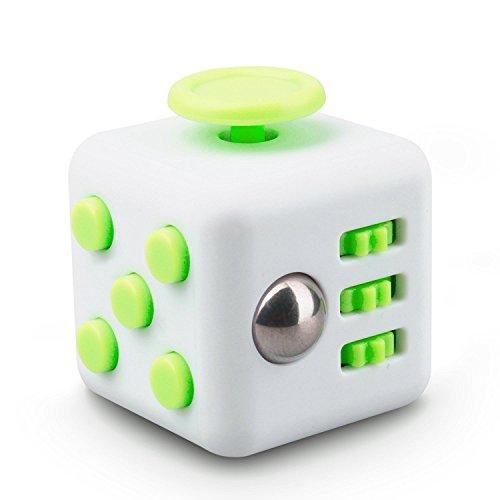 Dado de estrés como FIDGET CUBE, tal como el juguete perfecto para la calle, en el trabajo o en la sala de espera (Blanco y verde)