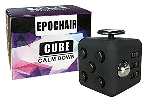 EpochAir Fidget Cube Alivia el Estrés y Ansiedad con 6 Funciones Distintas para Niños Jóvenes Adultos (Negro)