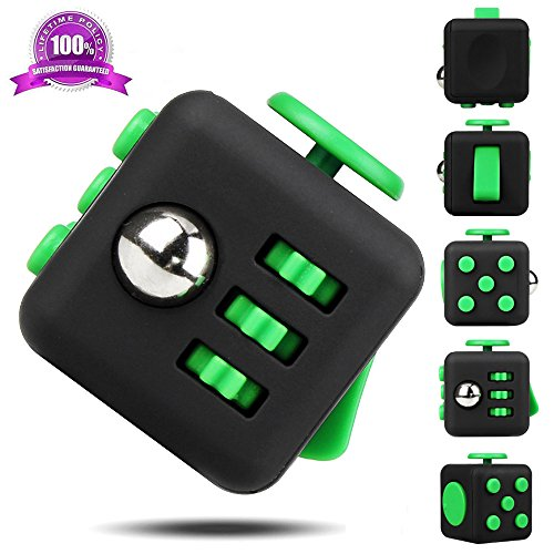 EpochAir Fidget Cube Alivia el Estrés y Ansiedad con 6 Funciones Distintas para Niños Jóvenes Adultos (Verde)