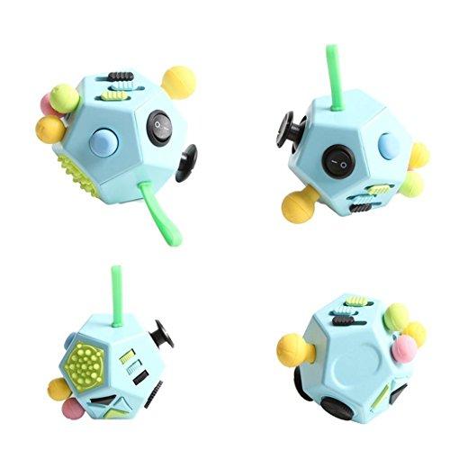 Fidget Cube OuDu 12 Lados Juguete de Escritorio Perfecto para Aliviar el Estrés, el Aumento de Rnfoque, el Autismo y la Ansiedad y Relajarse para Niños y Adultos - Amarillo Azul