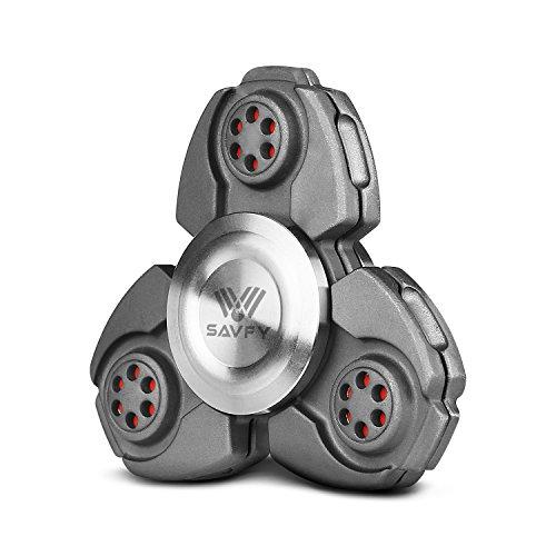 Fidget Spinner, SAVFY Hand Spinner Fidget Juguetes para EDC, ADD, ADHD, Autismo Tri Fidget dedo de mano Spinner Teniendo Cerámica para Niños y Adultos, Negro