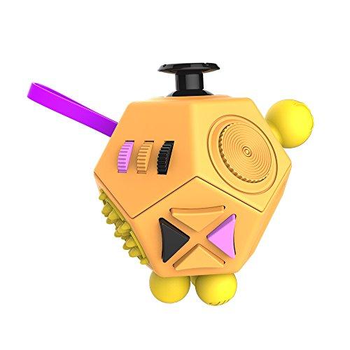 HuntGold niños adultos de descompresión cubo mágico 12 Lados magia de la persona agitada Cubo juguete -- Amarillo