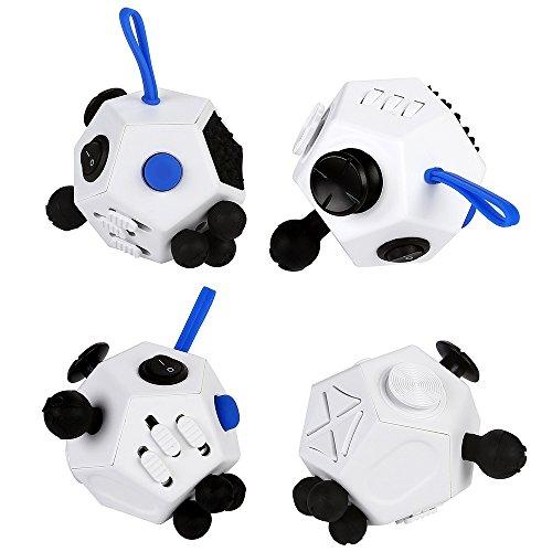 JouerNow Fidget Cubo II Ansiedad Stress Relief Focus 12 Dados lado de juguete blanco