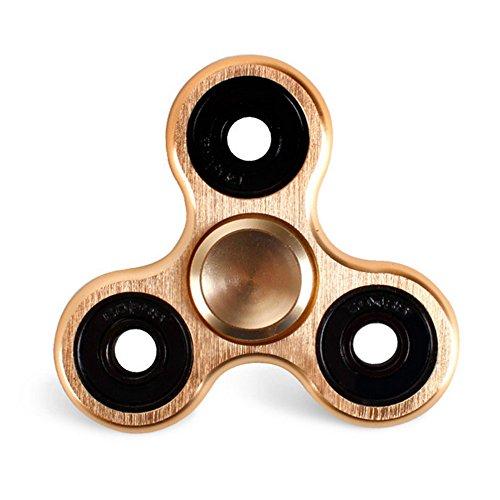 Morningsilkwig Tri-Spinner Fidget Toy Hand Spinner Plastic EDC Hand Spinner For Autism and ADHD Finger Spinner (Oro)