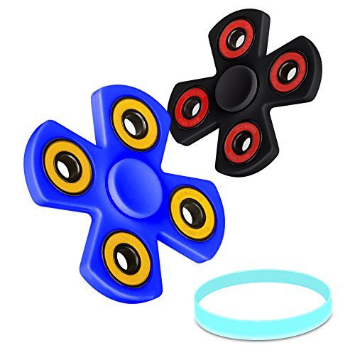 Quad Fidget Juguetes de La Descompresión, Olycism Alta Velocidad Hand Spinner Toys Alivia el estrés Perfecto para ADD, ADHD, Ansiedad y Autismo(Negro+Azul)