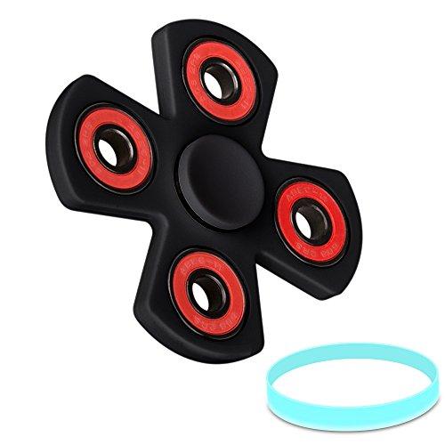 Quad Fidget Juguetes de La Descompresión, Olycism Alta Velocidad Hand Spinner Toys Alivia el estrés Perfecto para ADD, ADHD, Ansiedad y Autismo(Negro)