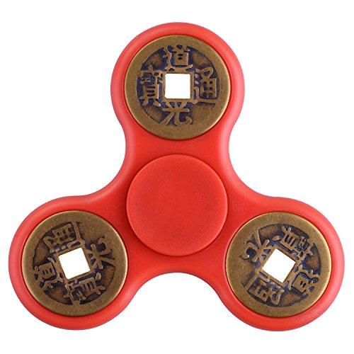Quimat Triangle Fidget Juguetes chino antiguo diseño de monedas de cobre Spinner EDC juguetes ayuda a enfocar la ansiedad aburrimiento hasta 2-3,5 minutos para los niños adultos Reductor de estrés (Rojo)