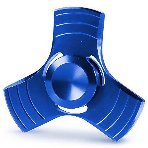 Spinner Fidget Toy, Ubegood Spinner Mano Juguete Tri Fidget Hand Spinner Toy Perfecto relajarse para niños y adultos - Azul