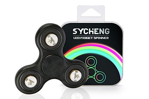SYEHNG -LED Tri Spinner juguete Fidget para ADD ADHD ansiedad y autismo Adultos Niños - Estrés y ansiedad Relief -EDC Focus Oficina juguete 3-4 Min rápido giros-alta calidad Si3N4 híbrido cerámica Bearing (Black)
