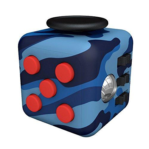Tepoinn Fidget Cube Toy Ansiedad Atención Stress Relief Stock Stuffer Alivia el estrés para niños y adultos (azul y negro)