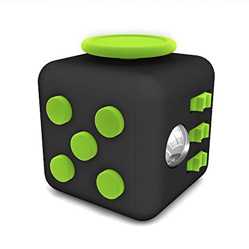 Tepoinn Fidget Cube Toy Ansiedad Atención Stress Relief Stock Stuffer Alivia el estrés para niños y adultos (Verde y negro)