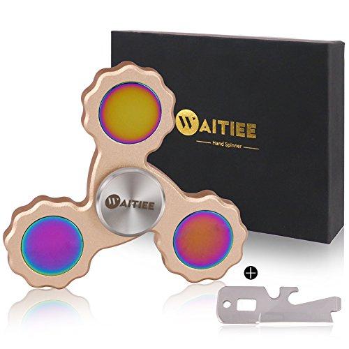 Waitiee Fidget mano Spinner juguete - rodamientos de alta velocidad en acero inoxidable - perfecto para matar tiempo de aumentar la atención, concentración.Tiemposdevuelta2a5min.