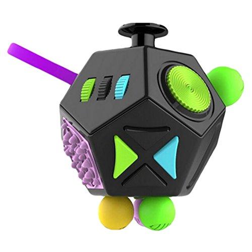 YAANCUN 12-lado Fidget Cube Mini Dedo Dados de Estrés Niños Y Adultos Alivia el Estrés y Ansiedad Juguete El Mejor Regalo