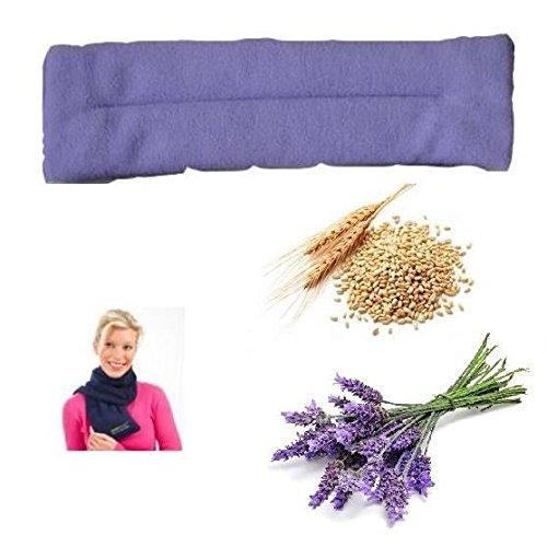 Almohadilla para el cuello, bolsa caliente para el microondas, con semillas de lavanda y granos de trigo, 800g, calefactor, Con funda de forro polar, para adultos y niños, 44 x 12 cm