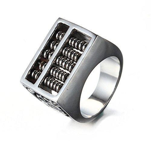 LOPEZ KENT Joyería de Hombres de acero inoxidable rotación Abacus banda anillo, Tamaño 22