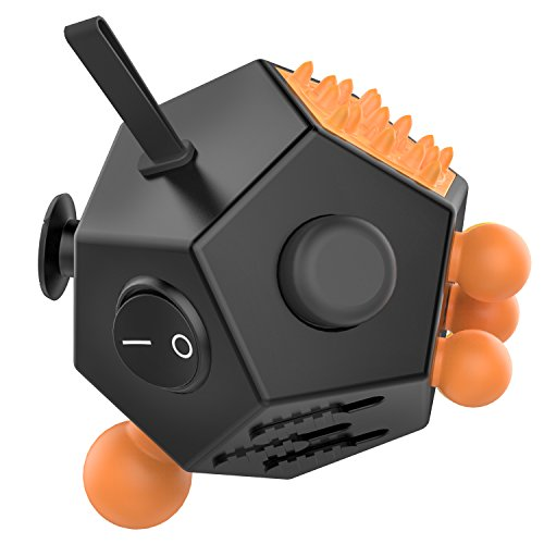 ATiC Fidget Cube, 12 Lados Cubo Magico Multifunción Descompresión Juguetes de Estrés la Ansiedad Relieve en el Trabajo, en la Vida o en Todos Partes, para Niños o Jóvenes, (Negro + Naranja)