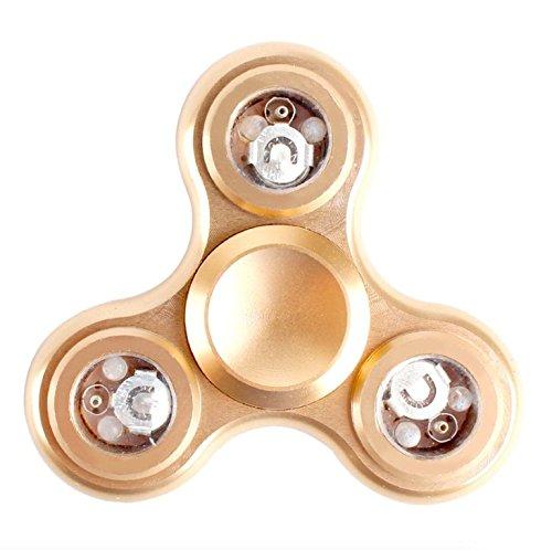 EVST Metal Fidget Hand Spinner Reductor de Estrés Durable EDC Niños Jóvenes Adultos Toy Super Larga Spinner Tiempo Grande para la ansiedad ADHD Autismo (Tri Fidget con luz LED (diámetro 6.5cm) (Oro)