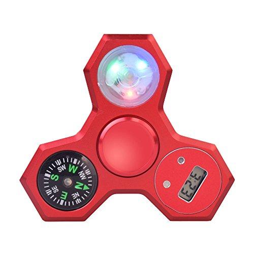 LeeHur Hand Spinner Fidget Spinner de mano de multifunción 4 en 1 con Brújula + Reloj Electrónico + Luz LED colorido para ADHD EDC, Material de Metal Tri Fidget Spinner, Juguete Reductor EDC Anti Ansiedad para Niños y Jóvenes Adulto(Rojo)