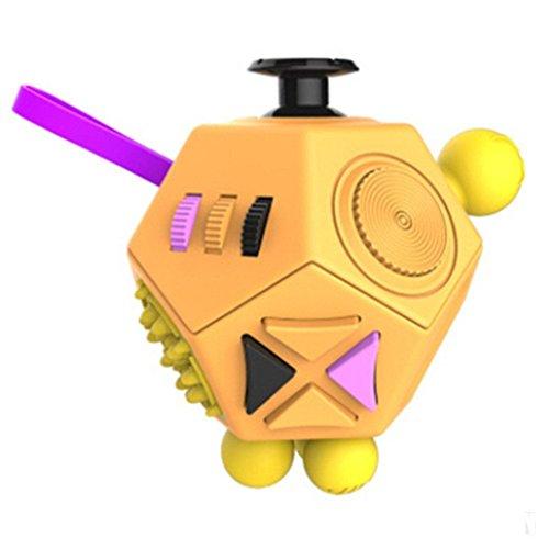 Small plover Fidget Cube Actualizado 12-lado Toy Ansiedad Estrés Atención Alivio Rompecabezas Adulto Niño (Fidget Cube)La interesante juguete(green)