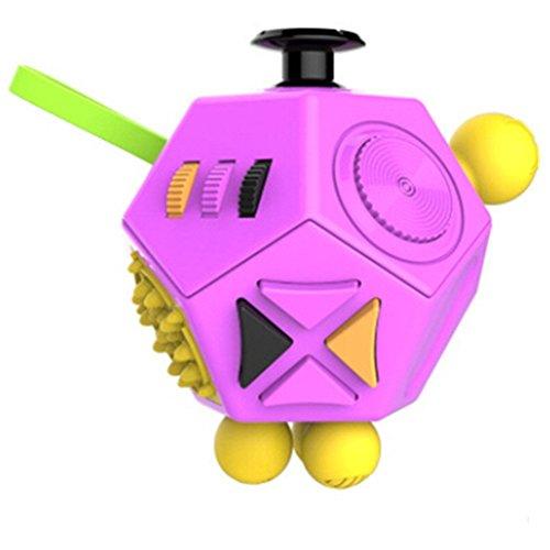 Small plover Fidget Cube Actualizado 12-lado Toy Ansiedad Estrés Atención Alivio Rompecabezas Adulto Niño (Fidget Cube)La interesante juguete(pink)