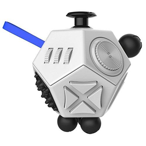 Small plover Fidget Cube Actualizado 12-lado Toy Ansiedad Estrés Atención Alivio Rompecabezas Adulto Niño (Fidget Cube)La interesante juguete(white)