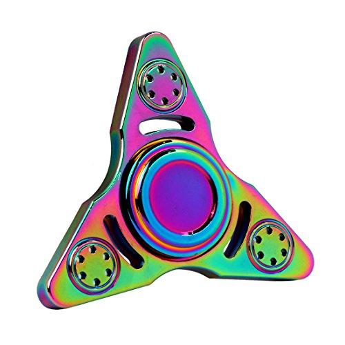 Spinner de mano Fidget Hand Spinner QcoQce K5 Arco iris colorido EDC Tri Fidget Mano Spinning Toy Tiempo asesino Reductor de estrés de alta velocidad Focus Toy Regalos Perfecto para ADD, ADHD, ansiedad, aburrimiento y autismo Adultos Niños