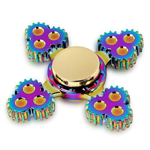 Spinner de mano Fidget Hand Spinner QcoQce S2 Arco iris colorido EDC Tri Fidget Mano Spinning Toy Tiempo asesino Reductor de estrés de alta velocidad Focus Toy Regalos Perfecto para ADD, ADHD, ansiedad, aburrimiento y autismo Adultos Niños