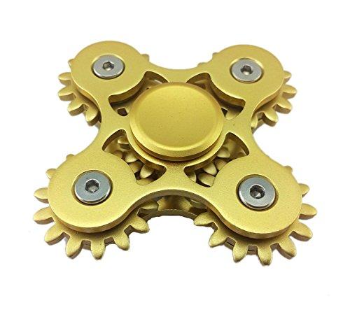5marchas vinculación Metal Fidget mano Spinner rápida rotación lujo Stress Relief juguete, Dorado
