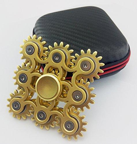 9marchas vinculación EDC Metal Fidget mano Spinner aliviar el estrés alta Spead dedo juguete, Gran regalo, Dorado
