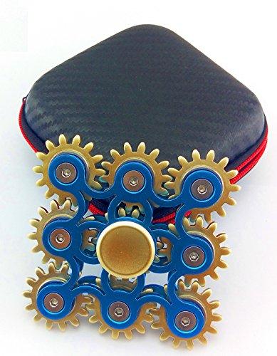 9marchas vinculación EDC Metal Fidget mano Spinner aliviar el estrés alta Spead dedo juguete, Gran regalo, Azul