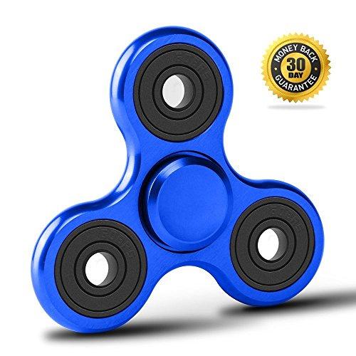 Fidget Spinner de Vivahouse | Juguete Hand Spinner Alivia Estrés y Ansiedad TDAH Autismo TDA Para Más Calma Claridad Atención | Gadget Silencioso de Giros de Aleación de Aluminio Tamaño Bolsillo (Azul Ardiente)