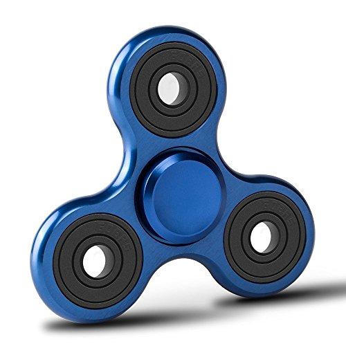 Fidget Spinner de Zekpro | Hand Spinner Juguete Sensorial Fidget Toy Personalizable Alivia Estrés Tensión y Ansiedad para TDAH TDA Autismo | Aleación de Aluminio (Azul)