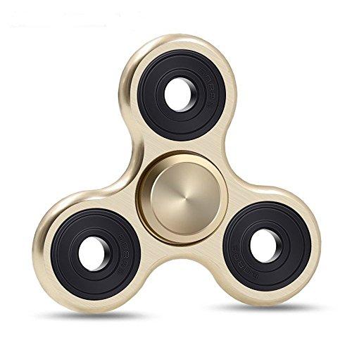 Fidget Spinner de Zekpro | Hand Spinner Juguete Sensorial Fidget Toy Personalizable Alivia Estrés Tensión y Ansiedad para TDAH TDA Autismo | Aleación de Aluminio (Oro)