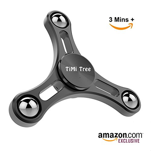 Fidget Spinner Finger Toy Aluminum, Best Novelty Spinning Top for Pressure Relief with Updated Balance System and Solid Stainless Steel Bearing Gap, Min 2 mins Spinning Time -by TiMi Tree (Black)