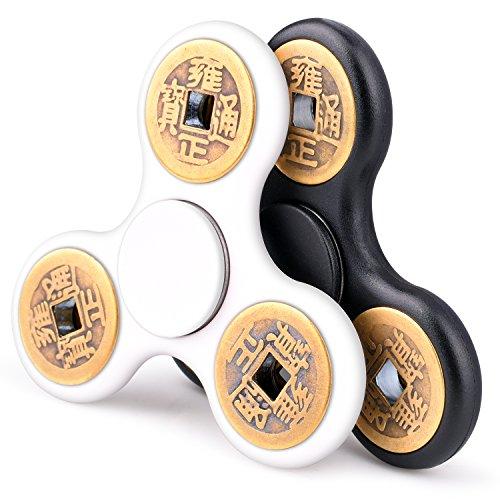 Fidget Spinner Manual Spinner Quimat [Paquete de 2] Metal EDC Fidget Juguetes silenciosa de alta velocidad chino Antiguo regalo de diseño de monedas de cobre para niños Adultos Ayuda Anti-Ansiedad Enfocando el aburrimiento Reductor de estrés (Negro y Blanco)