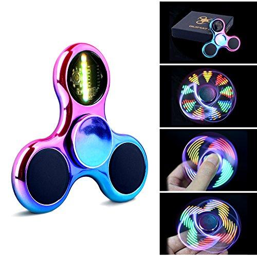 Fidget Spinner Spinner de Mano Quimat con LED Se encienden Juguetes para dedos EDC 18 modalidades de parpadeo perfecto para niños y adultos ayuda contra la ansiedad concentración aburrimiento reduce estrés es de alta velocidad (colorido/arcoíris)