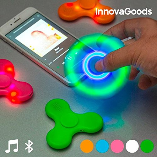InnovaGoods - Spinner LED con Altavoz y Bluetooth InnovaGoods - V0100502 - Azul