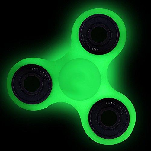 KIPTOP Juego de Mano Toys Spinner Finger para niños o adultos , Juguete Sensorial (Noctilucent verde)
