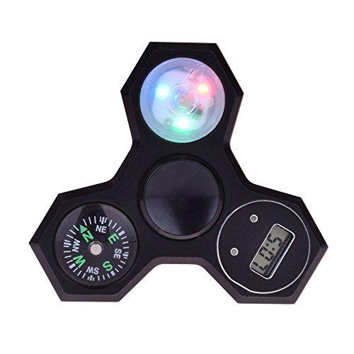 LeeHur Hand Spinner Fidget Spinner de mano de multifunción 4 en 1 con Brújula + Reloj Electrónico + Luz LED colorido para ADHD EDC, Material de Metal Tri Fidget Spinner, Juguete Reductor EDC Anti Ansiedad para Niños y Jóvenes Adulto(Negro)