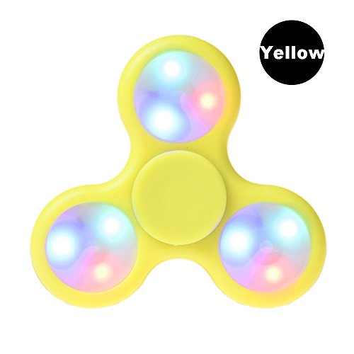LEEHUR Spinner Fidget, LED Spinner Mano Juguete Tri Fidget Hand Spinner Toy relajarse Perfecto para niños y adultos - Amarillo