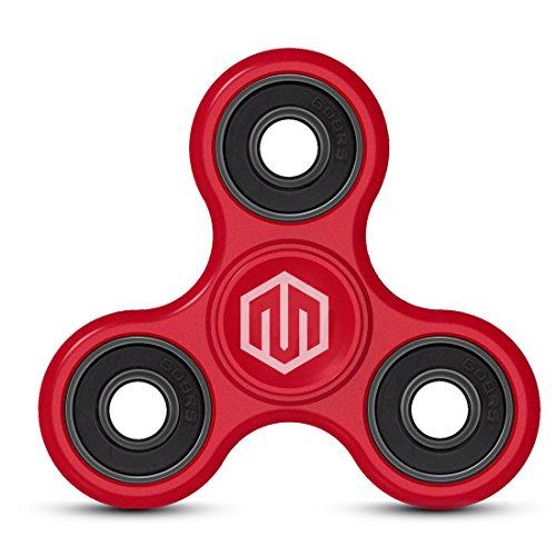 SPIN ME UP / Fidget Spinner / Hand Spinner / Tri-Spinner / Fidget juguete para adultos y niños / segunda generación con un recubrimiento mejorada (Red + Black)