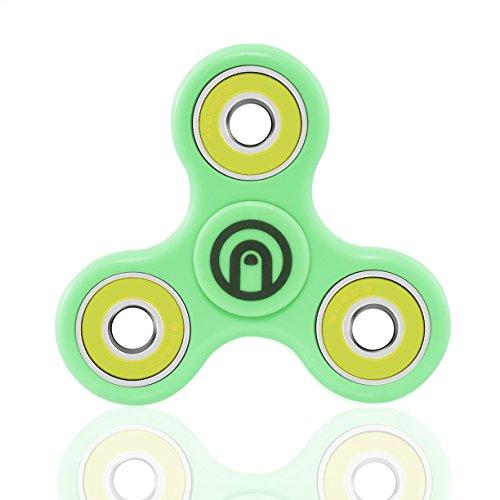 SPIN ME UP / Fidget Spinner / Hand Spinner / Tri-Spinner / Fidget juguete para adultos y niños / Corazón de cerámica Negro Alta Calidad / 9 colores disponibles (Verde - Amarillo)